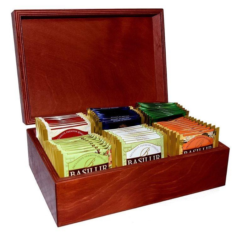 Dřevěný box s čaji Basilur - 6x10ks - 1
