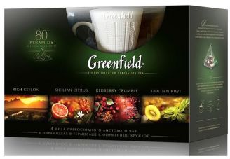 Greenfield dárkový set 80 čajů s hrnkem - 1